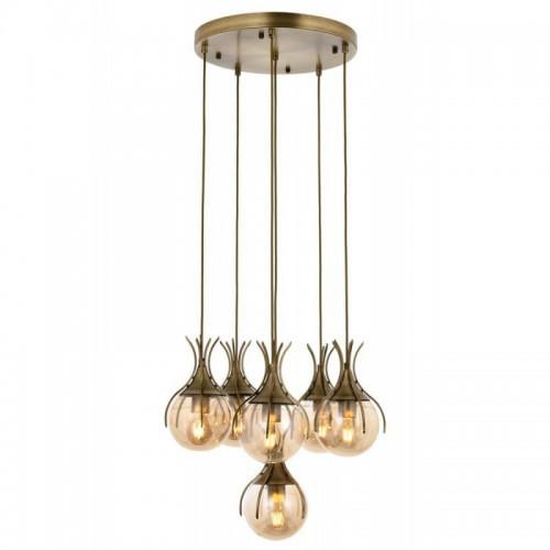 Ponadczasowa patynowa lampa wisząca na kole  avonni  AV-1766-6ET salon sypialnia jadalnia