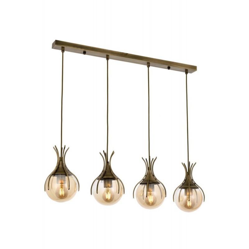 Ponadczasowa patynowa lampa wisząca na listwie  avonni  AV-1766-4EY salon sypialnia jadalnia