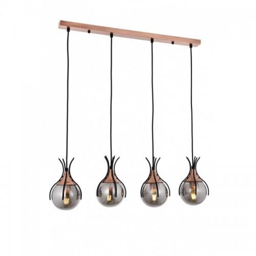 Ponadczasowa lampa wisząca na listwie  avonni  AV-1766-4Y-BSY salon sypialnia jadalnia