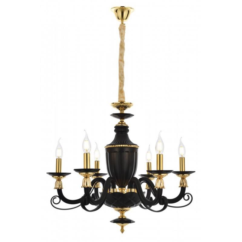 Czarno złoty stylowy żyrandol avonni av-5239-6sy kryształ salon kuchnia jadalnia hotel restauracja