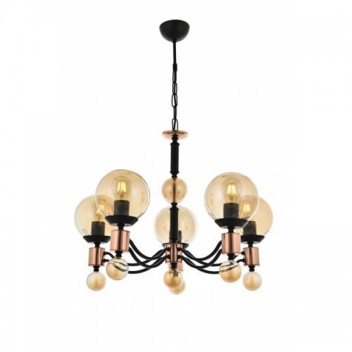 Lampa wisząca czarny żyrandol  avonni salon sypialnia jadalnia av-1731-5BSY