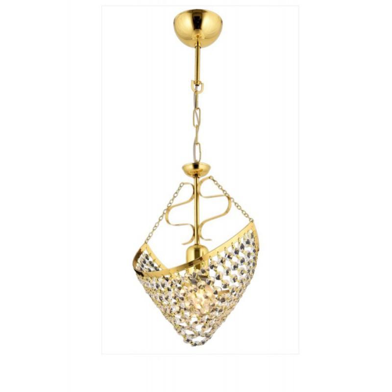 Złota kryształowa lampa sufitowa  żyrandol  avonni hotel sala bankietowa restauracja salon  av-1563-s18  lampa